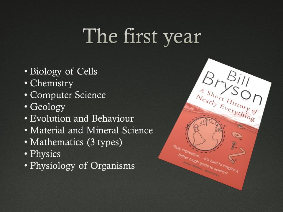 Biology of Cells Chemistry Computer Science Geology Evolution and Behaviour Material and Mineral Science Mathematics (3 types) Physics Physiology of Organisms