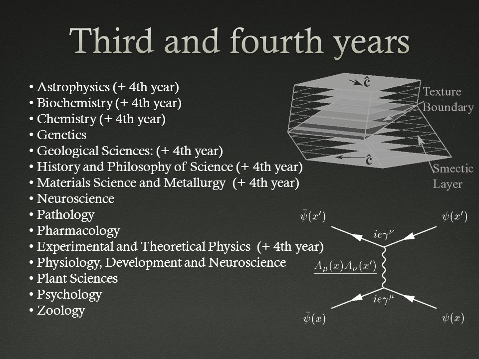 Astrophysics (+ 4th year) Biochemistry (+ 4th year) Chemistry (+ 4th year) Genetics Geological Sciences: (+ 4th year) History and Philosophy of Science (+ 4th year) Materials Science and Metallurgy (+ 4th year) Neuroscience Pathology Pharmacology Experimental and Theoretical Physics (+ 4th year) Physiology, Development and Neuroscience Plant Sciences Psychology Zoology