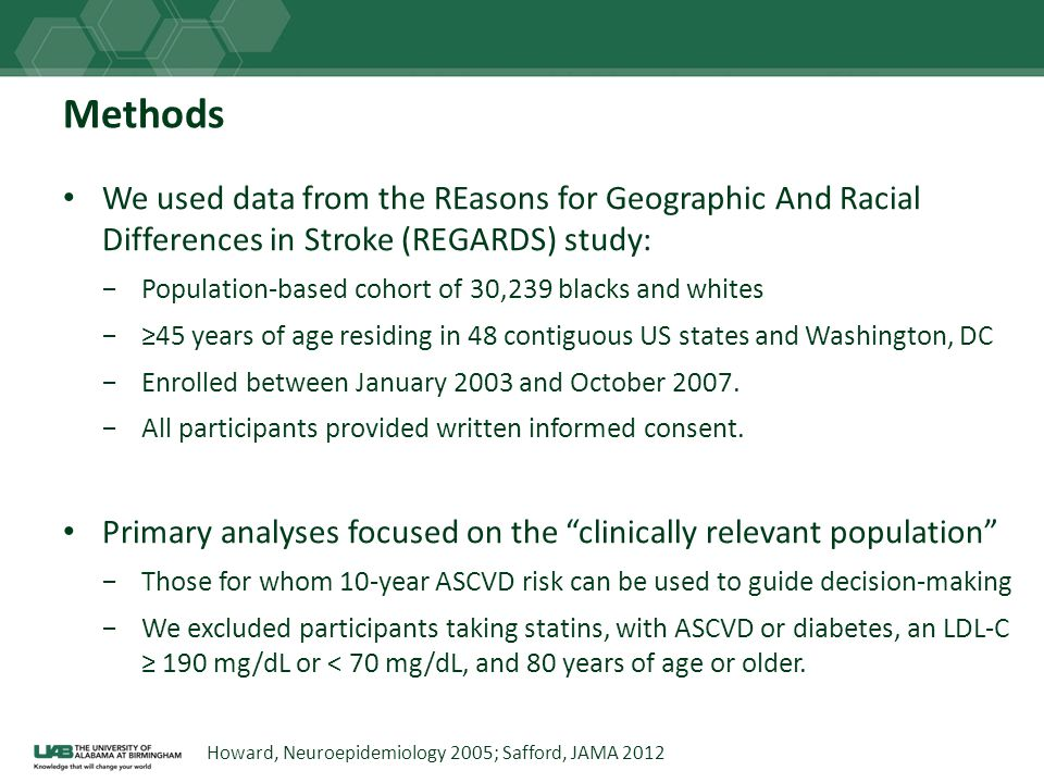Methods We used data from the REasons for Geographic And Racial Differences in Stroke (REGARDS) study: Population-based cohort of 30,239 blacks and wh