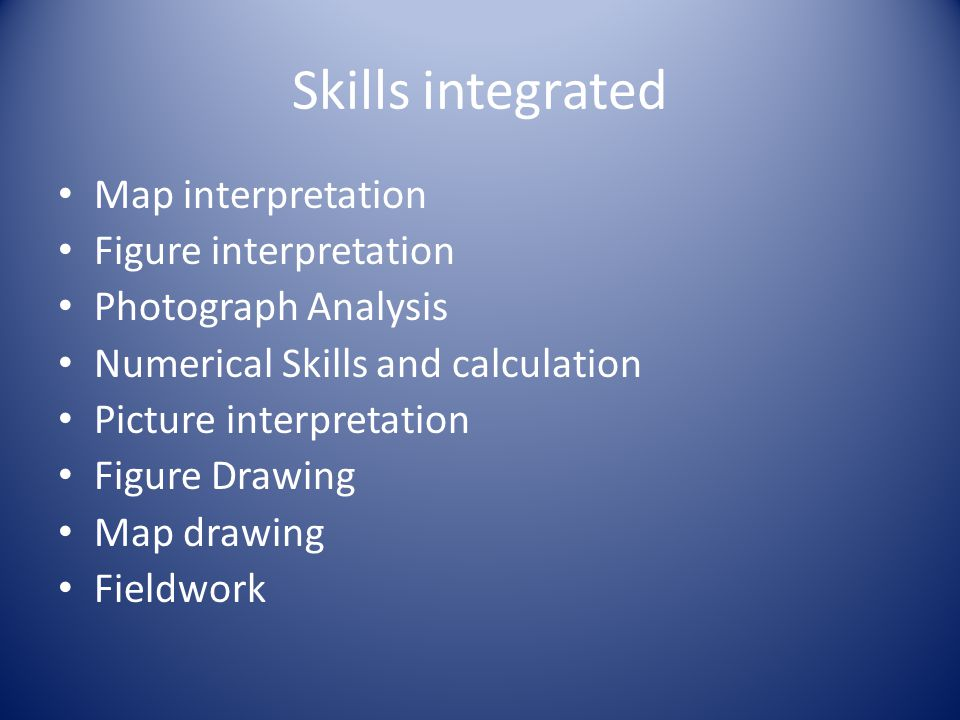 Skills integrated Map interpretation Figure interpretation Photograph Analysis Numerical Skills and calculation Picture interpretation Figure Drawing