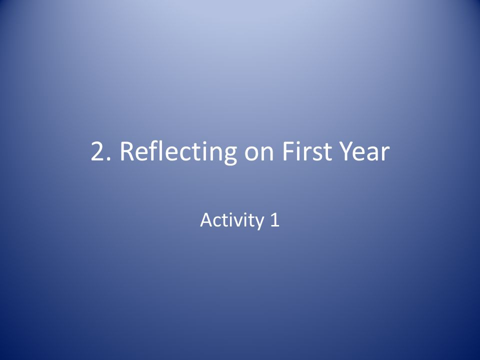 2. Reflecting on First Year Activity 1