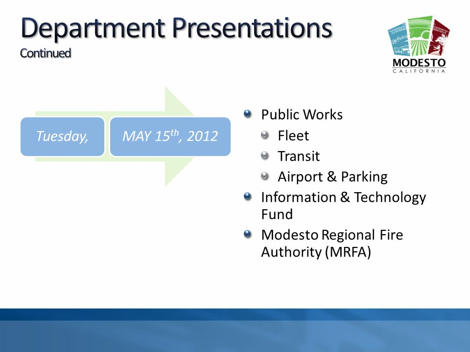 Public Works Fleet Transit Airport & Parking Information & Technology Fund Modesto Regional Fire Authority (MRFA) Tuesday,MAY 15 th, 2012