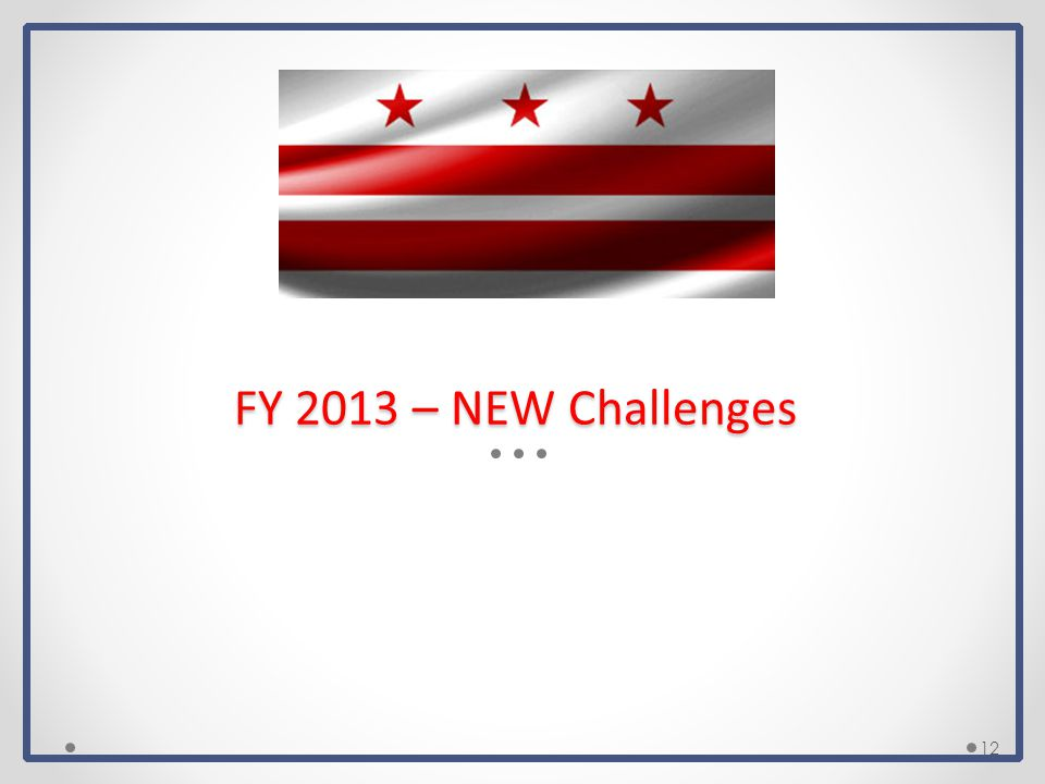 FY 2013 – NEW Challenges 12