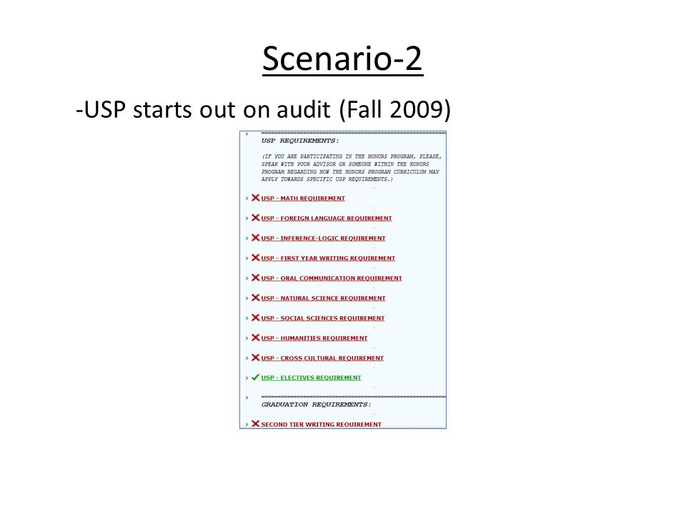 -USP starts out on audit (Fall 2009) Scenario-2