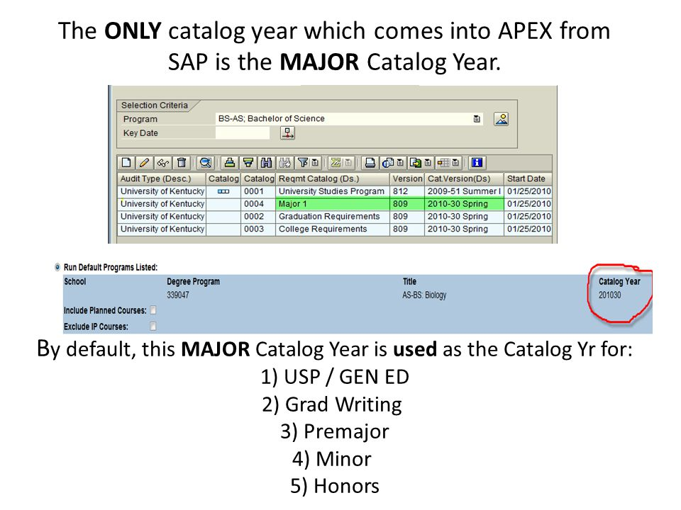 The ONLY catalog year which comes into APEX from SAP is the MAJOR Catalog Year.
