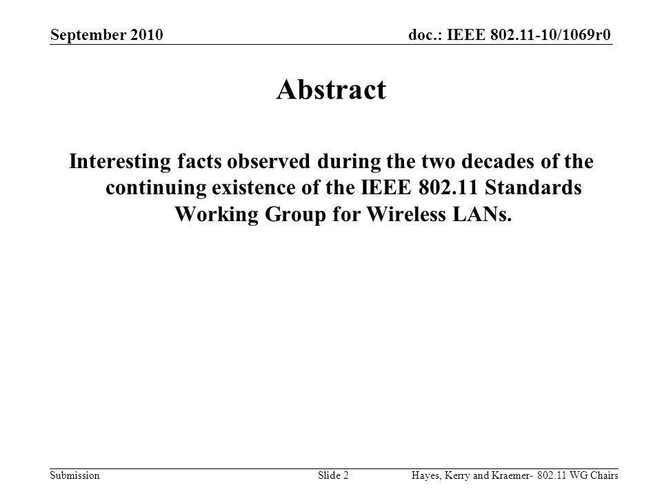doc.: IEEE 802.11-10/1069r0 Submission 20 year Technology Perspective CPUBus TechOSStorageSDOs/SSOs 1980- 1989 1990 1991- 1999 2000 - 2009 2010 Future LANMobileInternetWireless