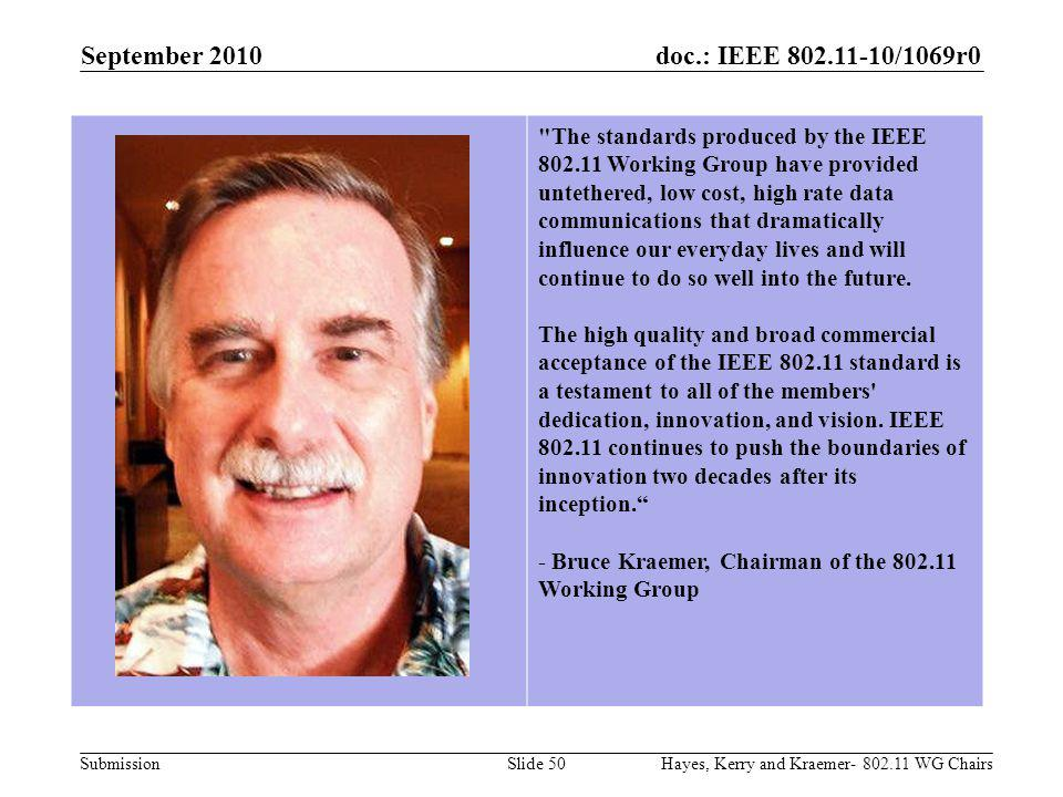 doc.: IEEE 802.11-10/1069r0 Submission September 2010 Hayes, Kerry and Kraemer- 802.11 WG ChairsSlide 50 The standards produced by the IEEE 802.11 Working Group have provided untethered, low cost, high rate data communications that dramatically influence our everyday lives and will continue to do so well into the future.