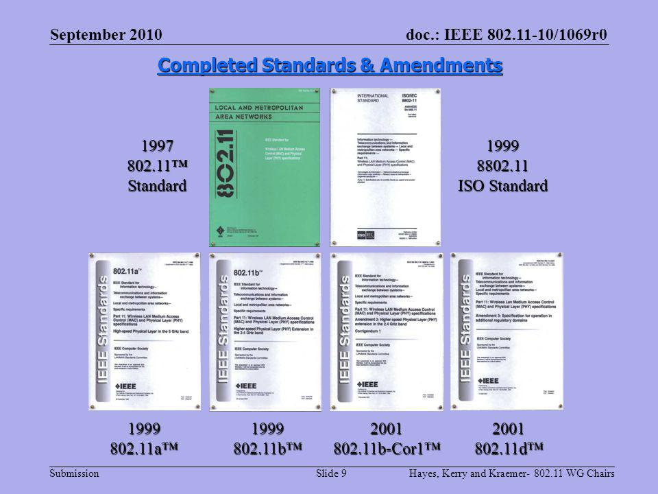 doc.: IEEE 802.11-10/1069r0 Submission Completed Standards & Amendments 1999802.11a 1997 802.11 Standard 1999802.11b2001802.11b-Cor12001802.11d 19998802.11 ISO Standard September 2010 Hayes, Kerry and Kraemer- 802.11 WG ChairsSlide 9