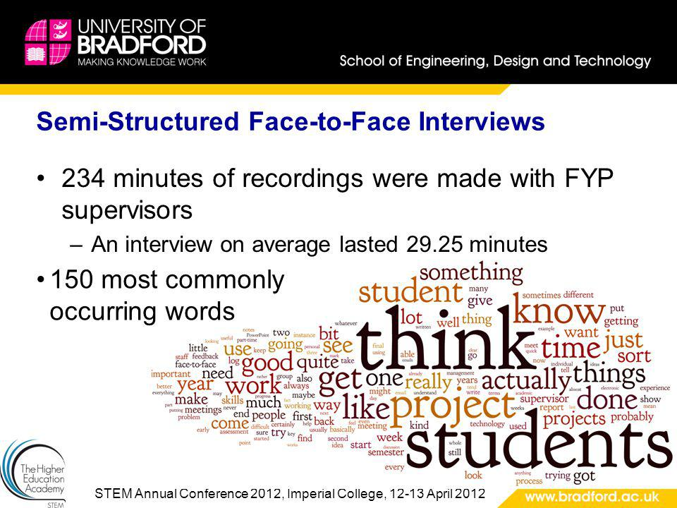 STEM Annual Conference 2012, Imperial College, 12-13 April 2012 Semi-Structured Face-to-Face Interviews 234 minutes of recordings were made with FYP supervisors –An interview on average lasted 29.25 minutes 150 most commonly occurring words