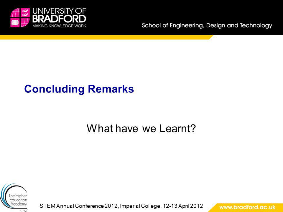 STEM Annual Conference 2012, Imperial College, 12-13 April 2012 Concluding Remarks What have we Learnt