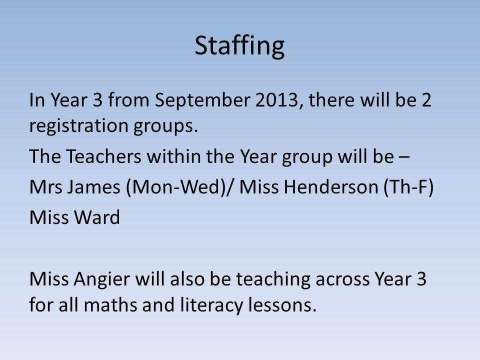 Staffing In Year 3 from September 2013, there will be 2 registration groups.