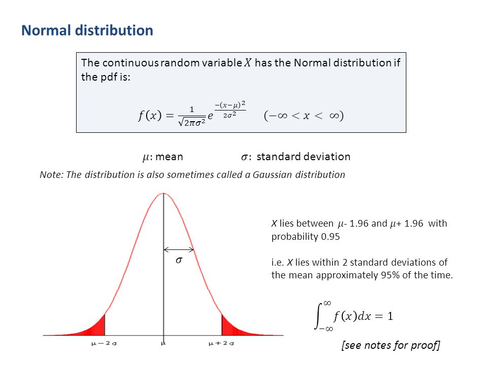 Normal distribution Note: The distribution is also sometimes called a Gaussian distribution [see notes for proof]