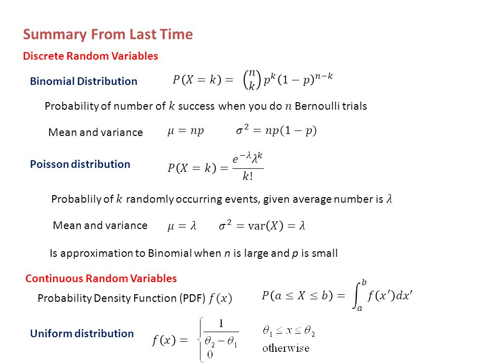 Summary From Last Time Binomial Distribution Mean and variance Poisson distribution Mean and variance Is approximation to Binomial when n is large and p is small Discrete Random Variables Continuous Random Variables Uniform distribution