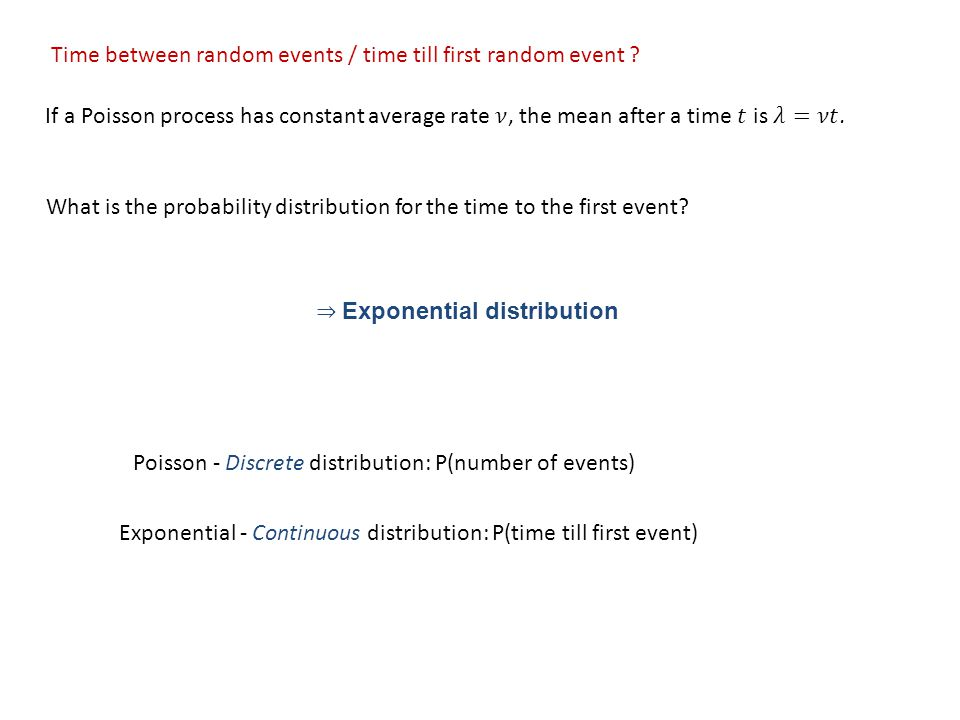 What is the probability distribution for the time to the first event.