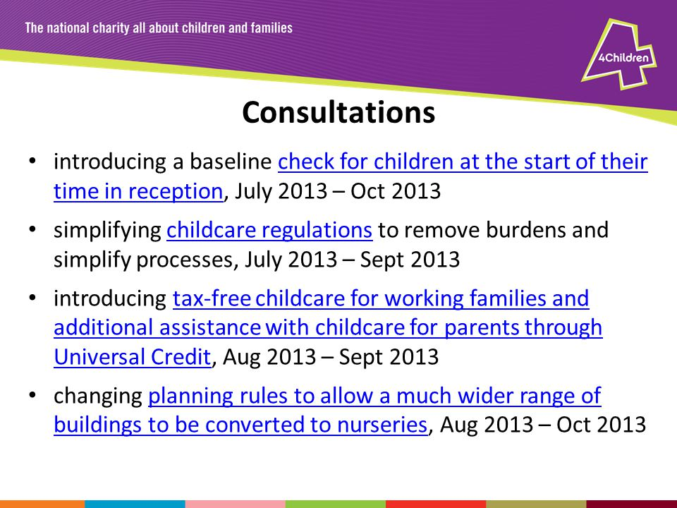 Consultations introducing a baseline check for children at the start of their time in reception, July 2013 – Oct 2013check for children at the start o