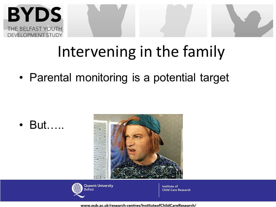 Intervening in the family Parental monitoring is a potential target But…..