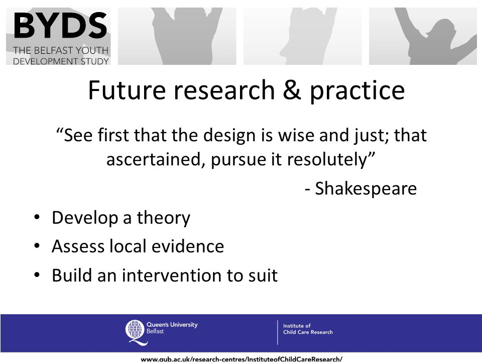 Future research & practice See first that the design is wise and just; that ascertained, pursue it resolutely - Shakespeare Develop a theory Assess lo