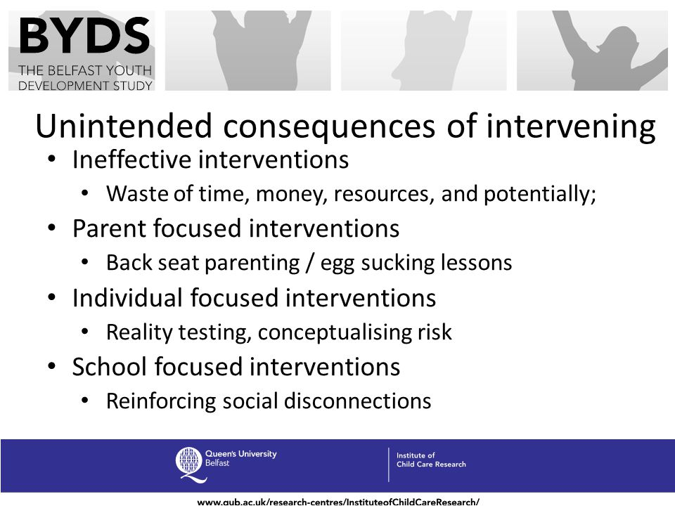 Unintended consequences of intervening Ineffective interventions Waste of time, money, resources, and potentially; Parent focused interventions Back s