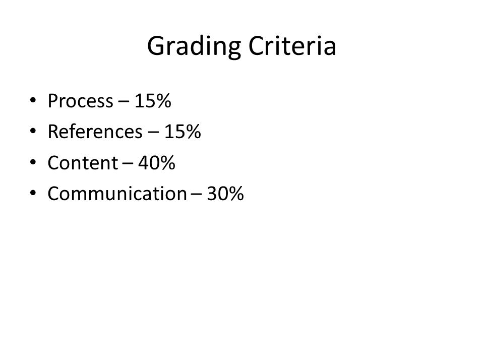 Grading Criteria Process – 15% References – 15% Content – 40% Communication – 30%