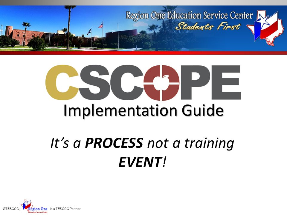 ©TESCCC, is a TESCCC Partner Purpose Statement-Statement of alignment to the national standards.