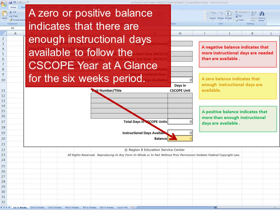 ©TESCCC, is a TESCCC Partner A zero or positive balance indicates that there are enough instructional days available to follow the CSCOPE Year at A Gl