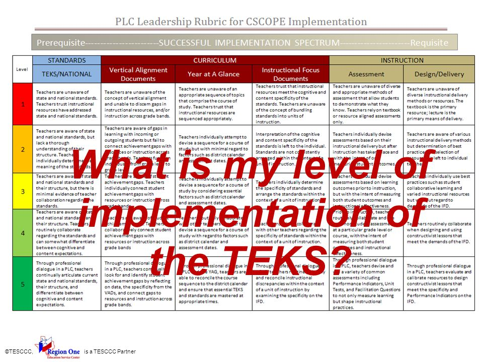 ©TESCCC, is a TESCCC Partner What is my level of implementation of the TEKS?
