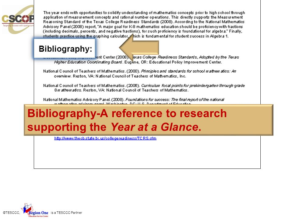 ©TESCCC, is a TESCCC Partner Bibliography-A reference to research supporting the Year at a Glance.