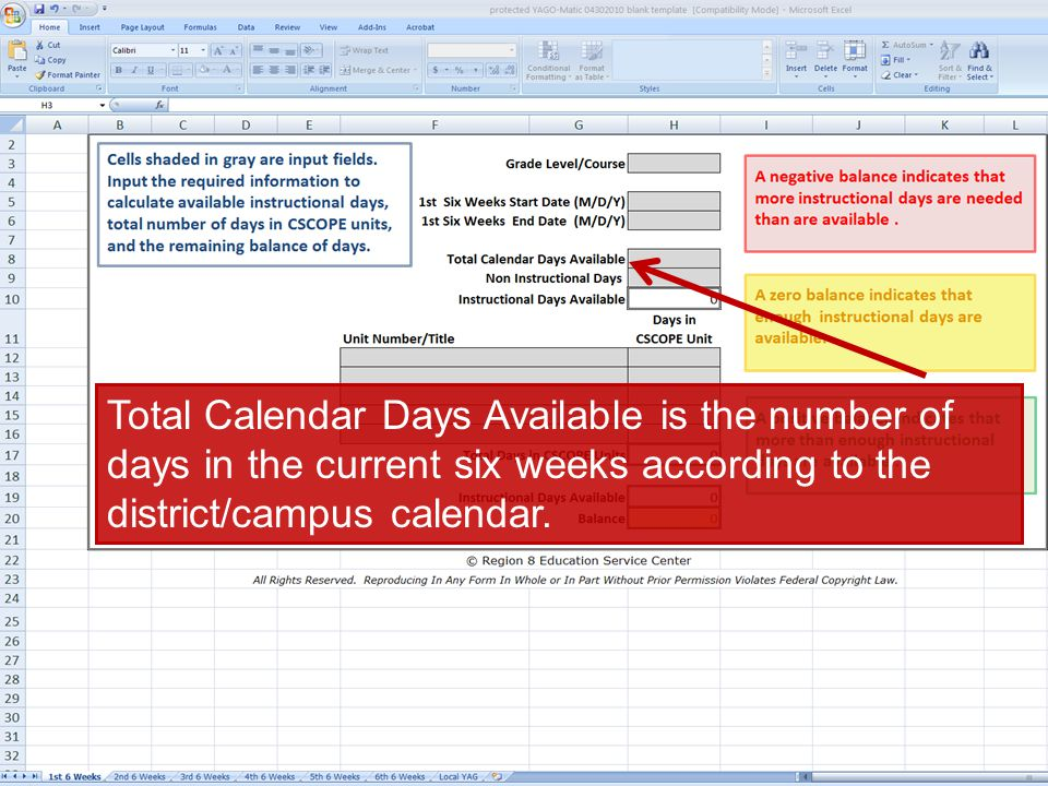 ©TESCCC, is a TESCCC Partner Total Calendar Days Available is the number of days in the current six weeks according to the district/campus calendar.