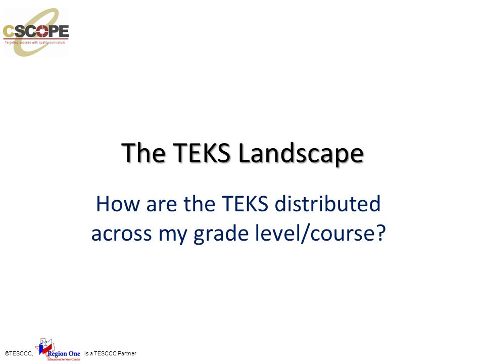 ©TESCCC, is a TESCCC Partner The TEKS Landscape How are the TEKS distributed across my grade level/course?