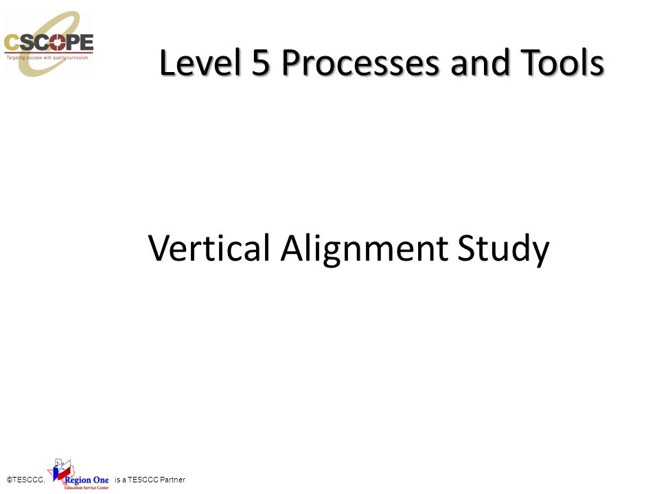 ©TESCCC, is a TESCCC Partner Level 5 Processes and Tools Vertical Alignment Study
