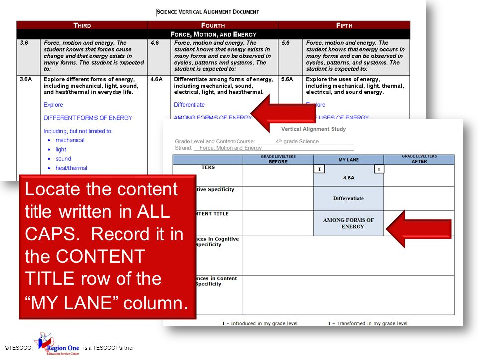 ©TESCCC, is a TESCCC Partner Locate the content title written in ALL CAPS. Record it in the CONTENT TITLE row of the MY LANE column.
