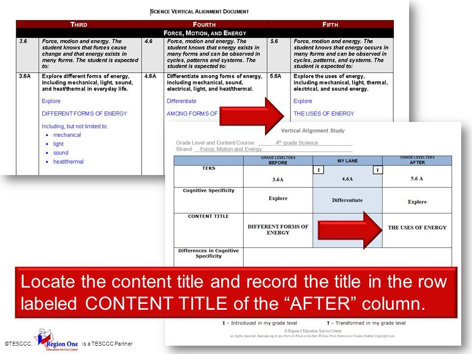 ©TESCCC, is a TESCCC Partner Locate the content title and record the title in the row labeled CONTENT TITLE of the AFTER column.