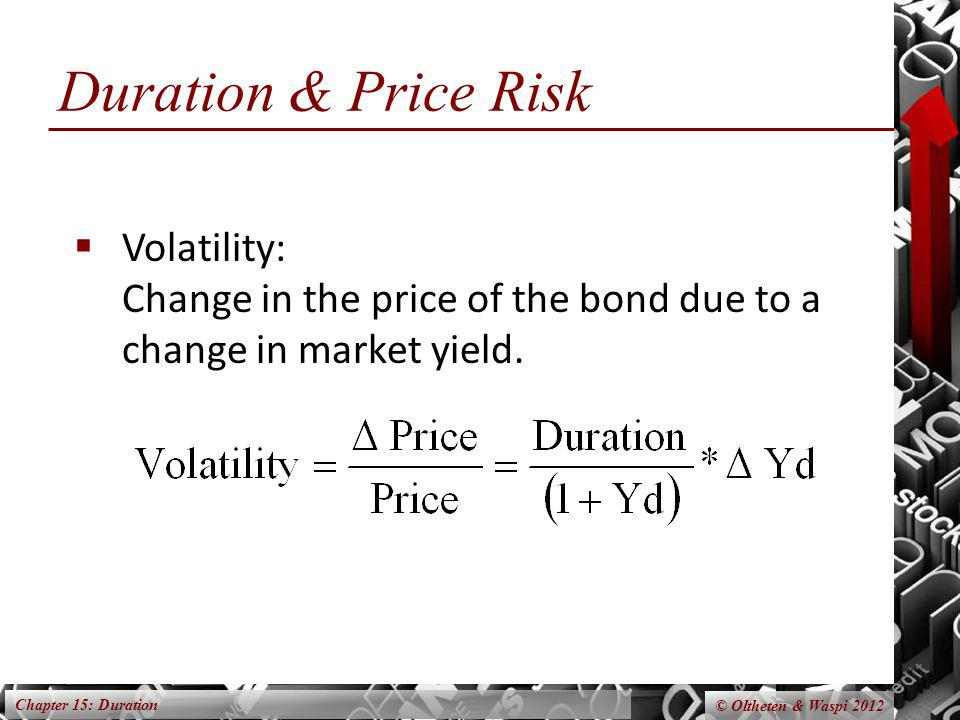 Chapter 15: Duration © Oltheten & Waspi 2012 Duration & Price Risk Volatility: Change in the price of the bond due to a change in market yield.