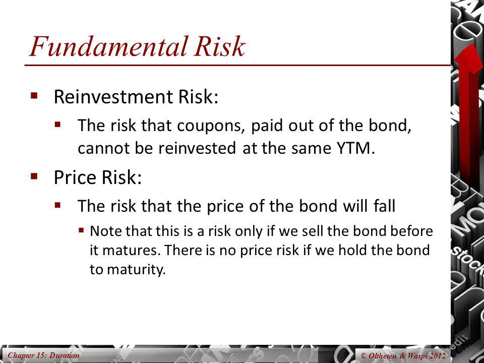 Chapter 15: Duration © Oltheten & Waspi 2012 Fundamental Risk Reinvestment Risk: The risk that coupons, paid out of the bond, cannot be reinvested at