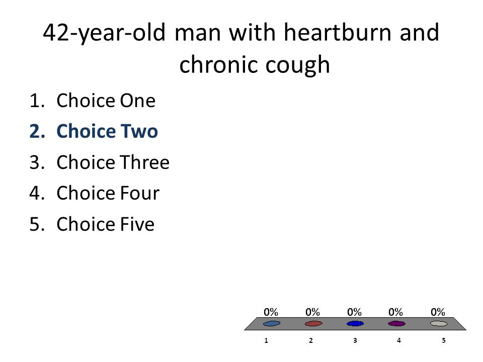 42-year-old man with heartburn and chronic cough 1.Choice One 2.Choice Two 3.Choice Three 4.Choice Four 5.Choice Five