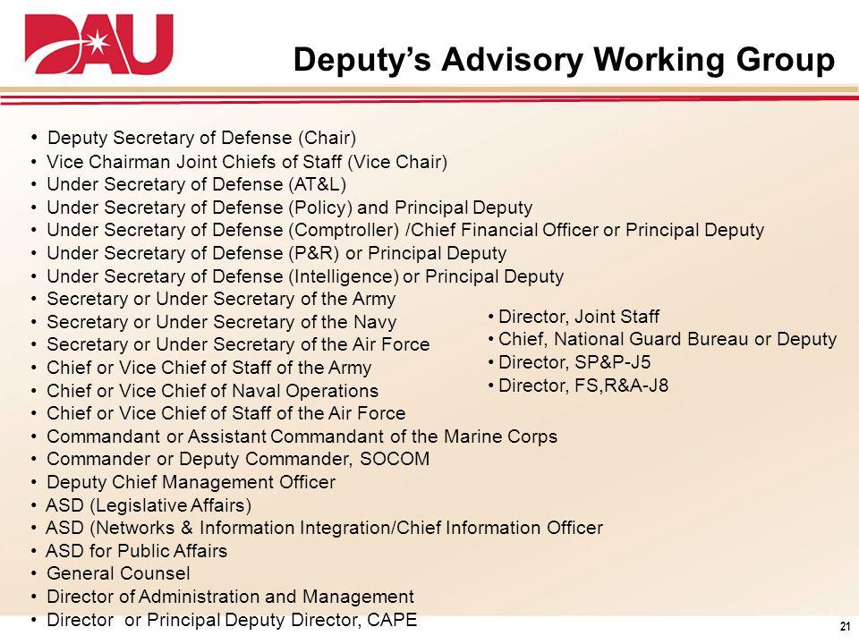 Deputys Advisory Working Group Deputy Secretary of Defense (Chair) Vice Chairman Joint Chiefs of Staff (Vice Chair) Under Secretary of Defense (AT&L)