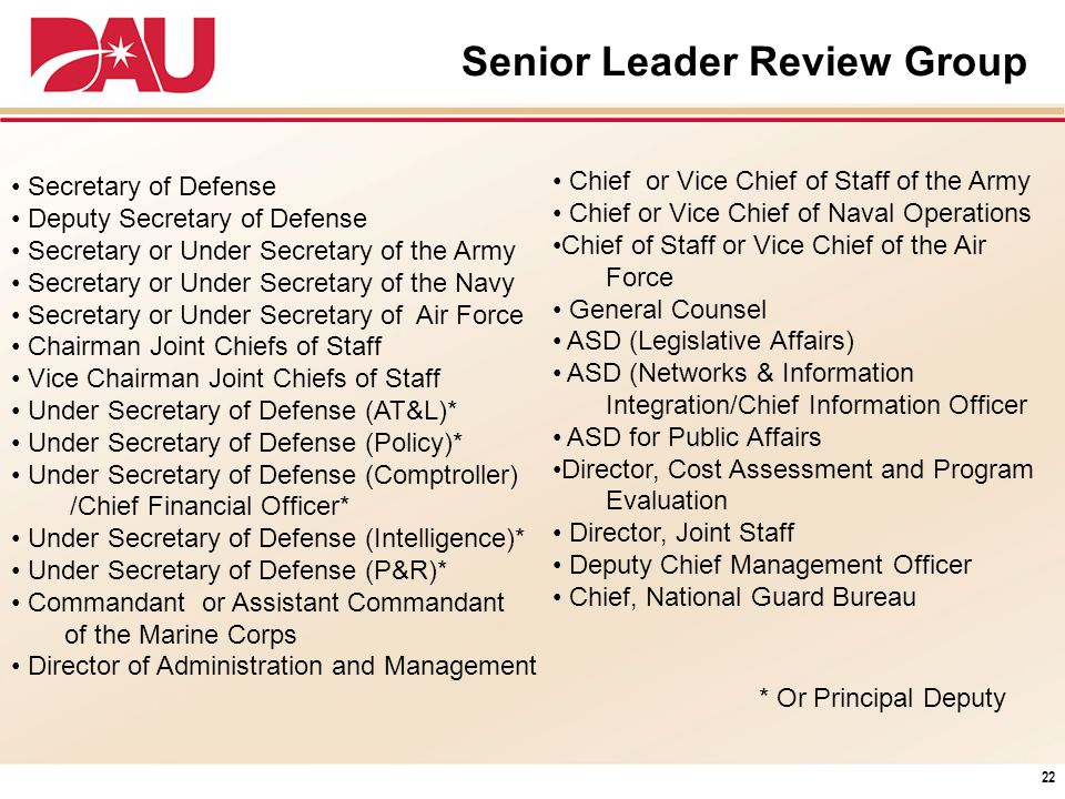 Senior Leader Review Group Secretary of Defense Deputy Secretary of Defense Secretary or Under Secretary of the Army Secretary or Under Secretary of t