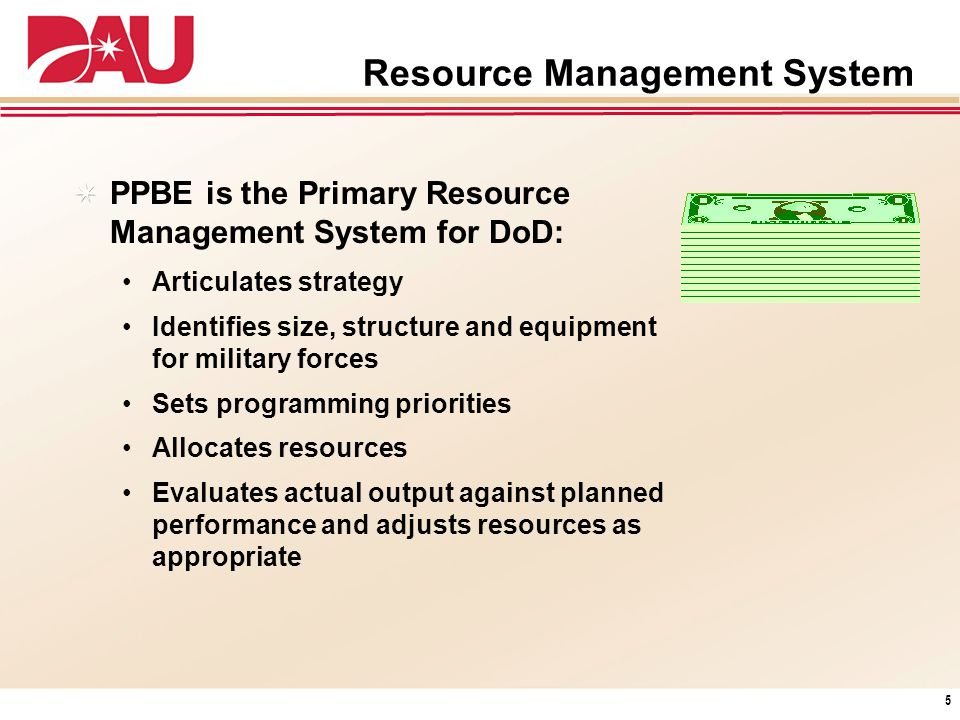 Resource Management System PPBE is the Primary Resource Management System for DoD: Articulates strategy Identifies size, structure and equipment for m