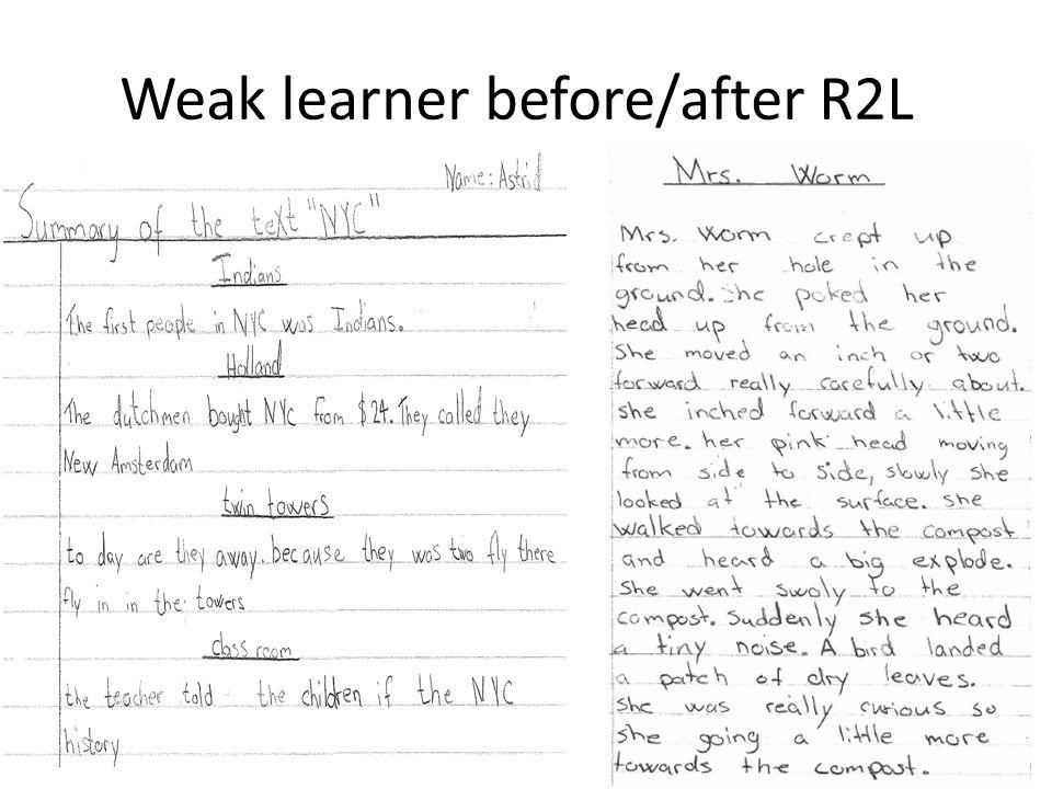 Weak learner before/after R2L