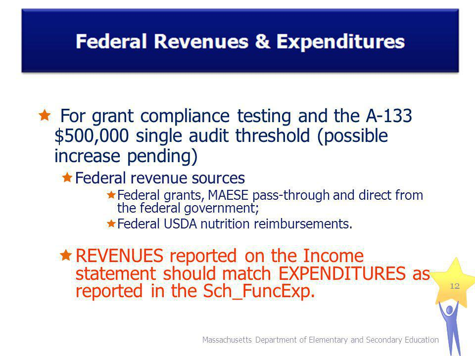 For grant compliance testing and the A-133 $500,000 single audit threshold (possible increase pending) Federal revenue sources Federal grants, MAESE pass-through and direct from the federal government; Federal USDA nutrition reimbursements.