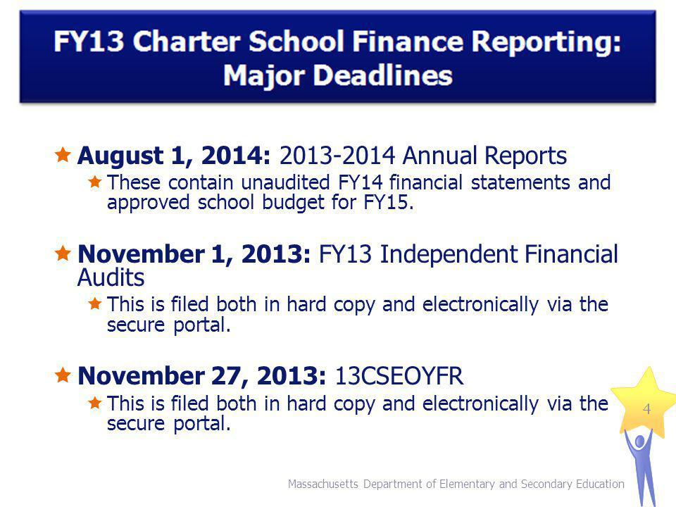 Massachusetts Department of Elementary and Secondary Education 4 August 1, 2014: 2013-2014 Annual Reports These contain unaudited FY14 financial statements and approved school budget for FY15.