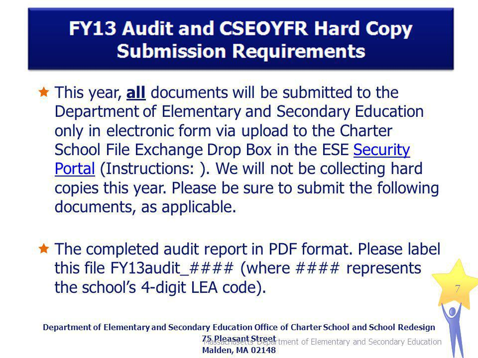 This year, all documents will be submitted to the Department of Elementary and Secondary Education only in electronic form via upload to the Charter School File Exchange Drop Box in the ESE Security Portal (Instructions: ).
