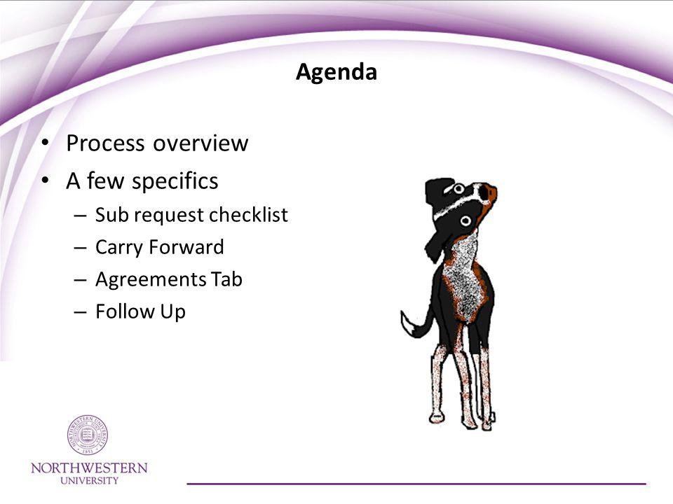 Agenda Process overview A few specifics – Sub request checklist – Carry Forward – Agreements Tab – Follow Up