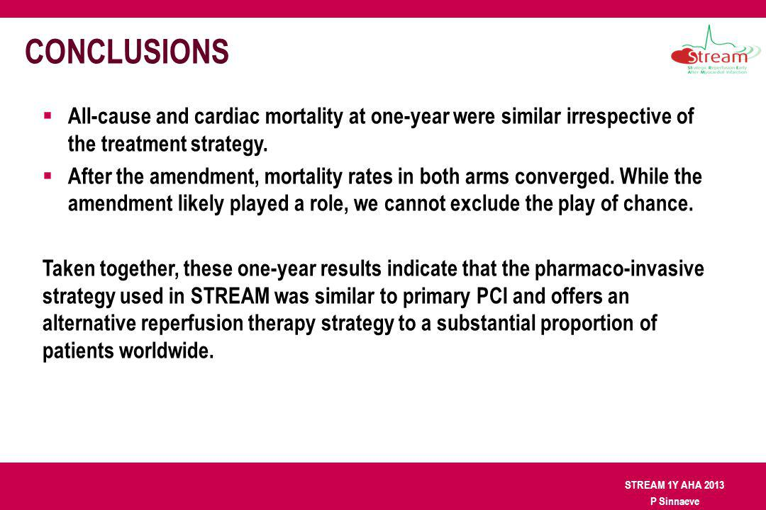 STREAM 1Y AHA 2013 P Sinnaeve CONCLUSIONS All-cause and cardiac mortality at one-year were similar irrespective of the treatment strategy. After the a