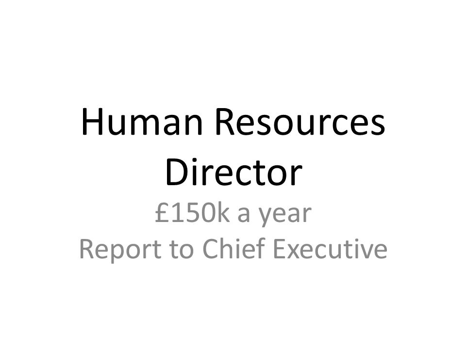 Human Resources Director £150k a year Report to Chief Executive