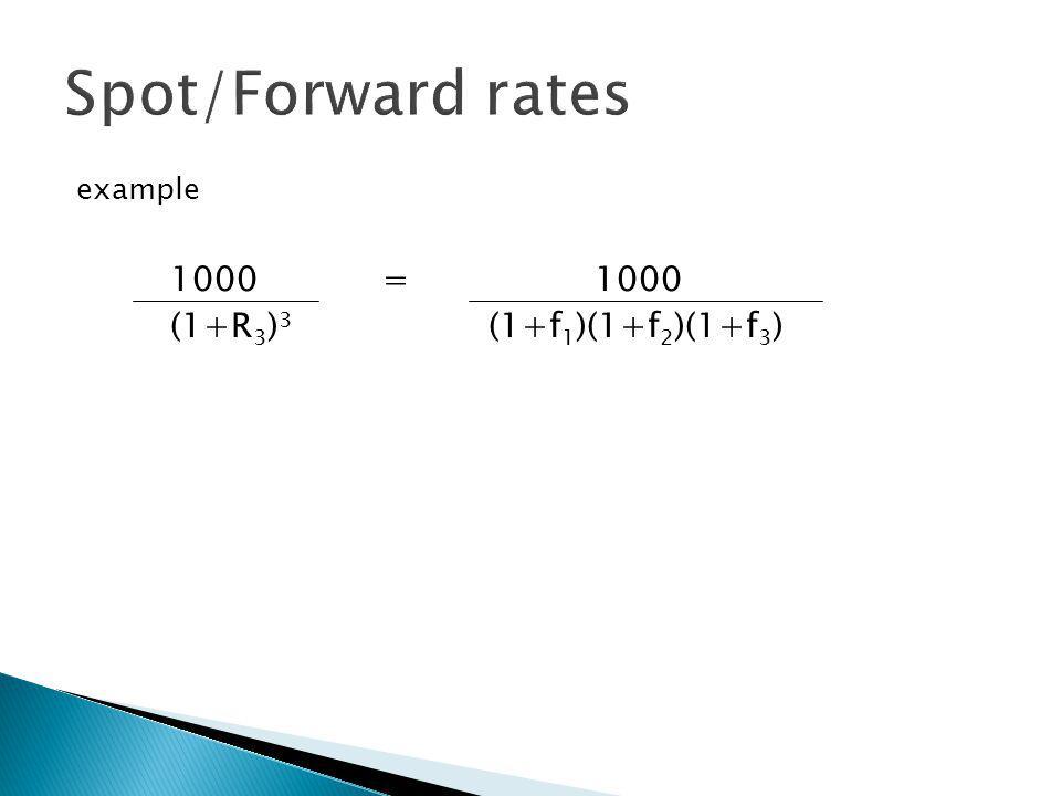 Forward Rate Computations (1+ R n ) n = (1+R 1 )(1+f 2 )(1+f 3 )....(1+f n )