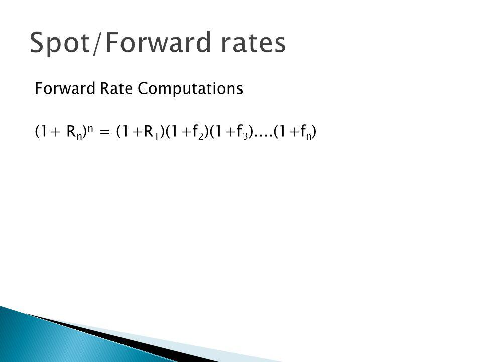 Forward Rate Computations (1+ R n ) n = (1+R 1 )(1+f 2 )(1+f 3 )....(1+f n )