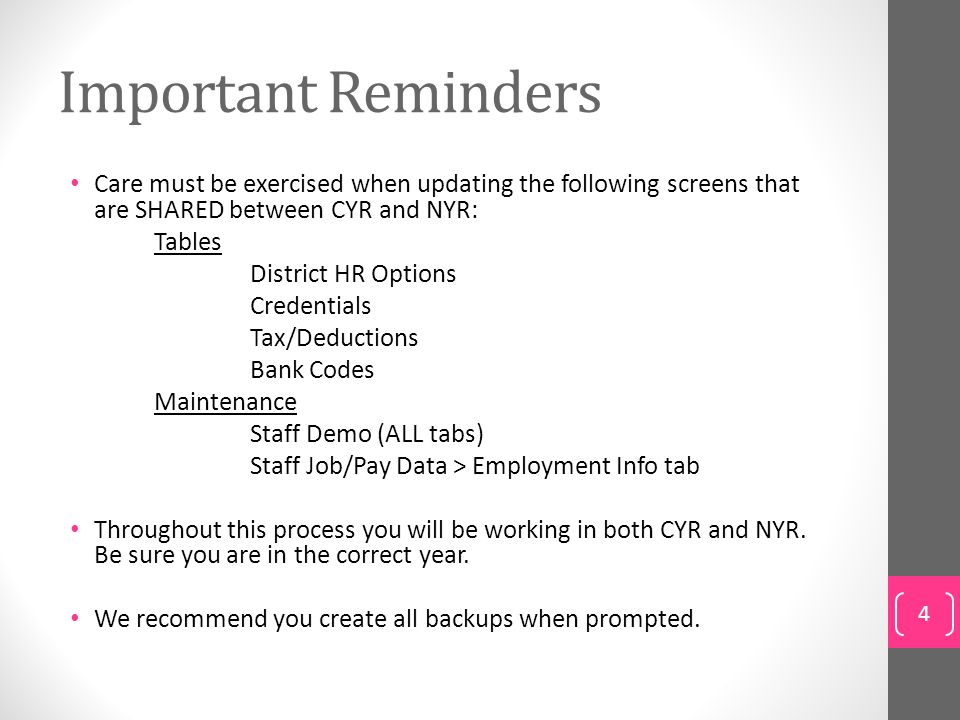 Step 23: Update Employee Information E.Deductions tab Human Resources > Maintenance > Staff Job/Pay Data > Deductions 55