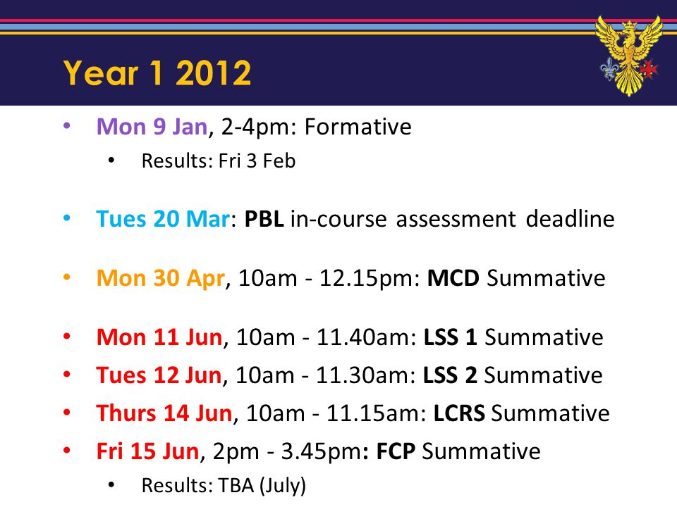 Year 1 2012 Mon 9 Jan, 2-4pm: Formative Results: Fri 3 Feb Tues 20 Mar: PBL in-course assessment deadline Mon 30 Apr, 10am - 12.15pm: MCD Summative Mo