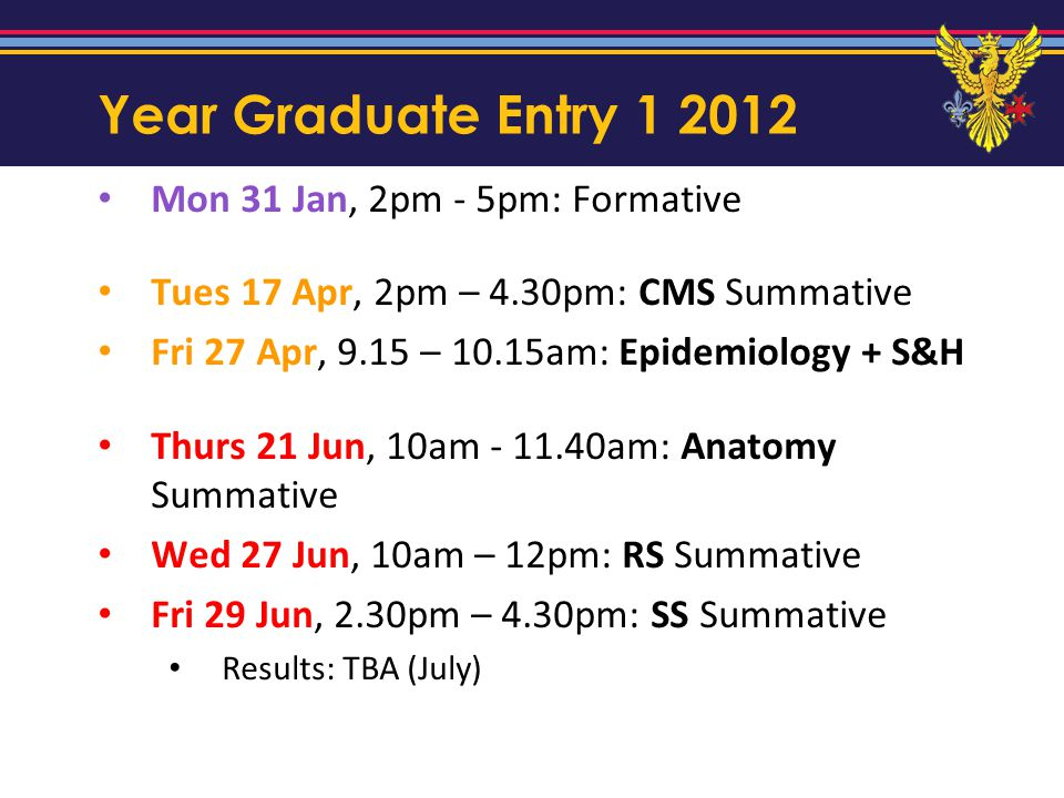 Year Graduate Entry 1 2012 Mon 31 Jan, 2pm - 5pm: Formative Tues 17 Apr, 2pm – 4.30pm: CMS Summative Fri 27 Apr, 9.15 – 10.15am: Epidemiology + S&H Th